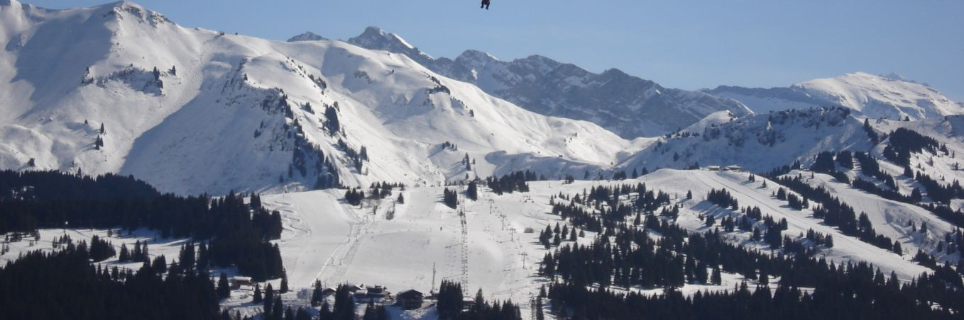 Paragliding in the skies above Les Gets
