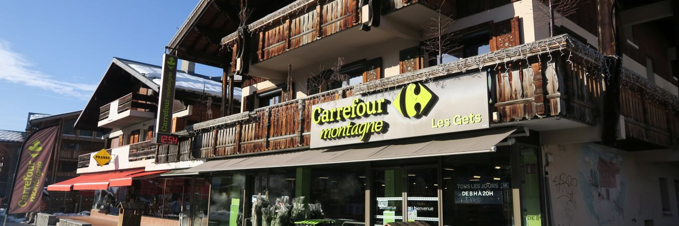 Les Gets Shops such as Carrefoure, great for shopping