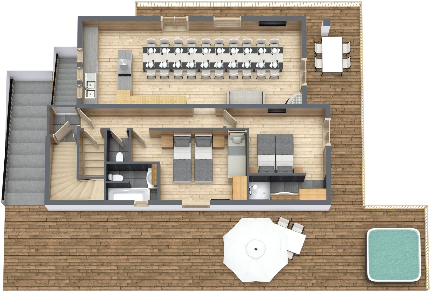 Floorplan of Chalet La Rocade Middle FLoor