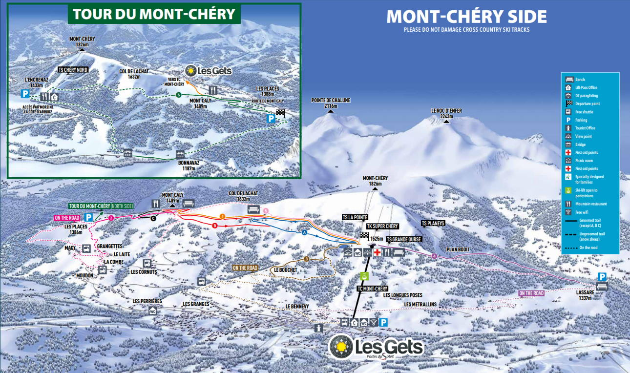 Les Gets Mont Chery Ski Touring and Snowshoeing Map 2019