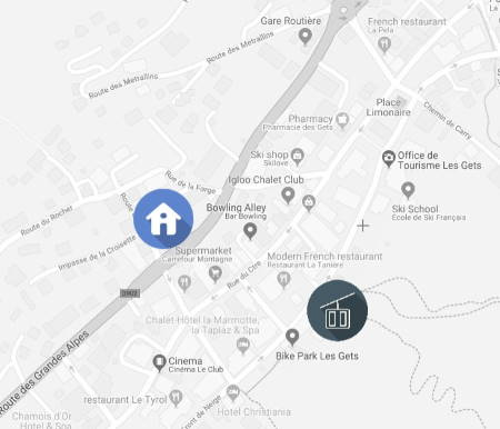 map of Sources Du Chery 1 apartment in Les Gets